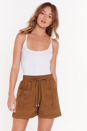 Womens Khaki The Ties the Limit High-Waisted Shorts