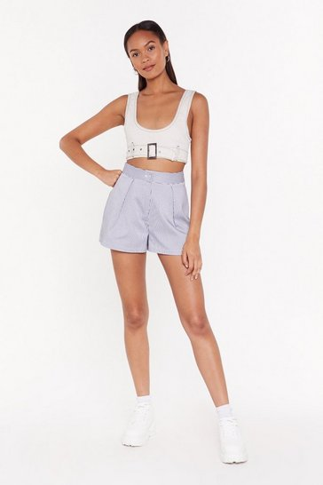 Womens Black When the Time is Stripe Tailored Shorts