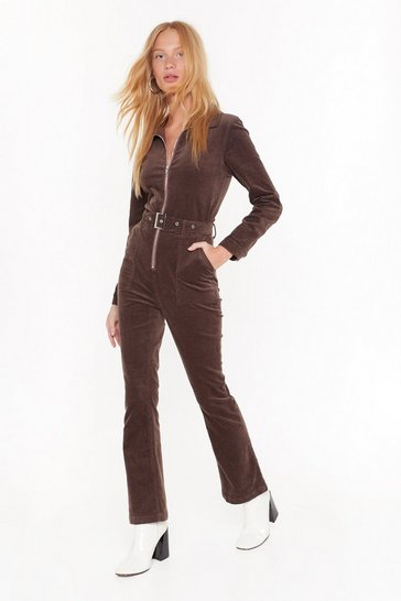 Womens Chocolate Let the Record-uroy Play Flared Boilersuit