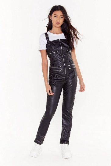 Womens Black Zippin' Out Faux Leather Jumpsuit