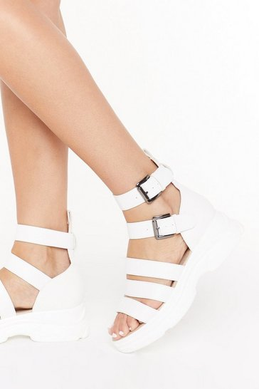 Womens White Mind the Gap Strappy Faux Leather Sandals