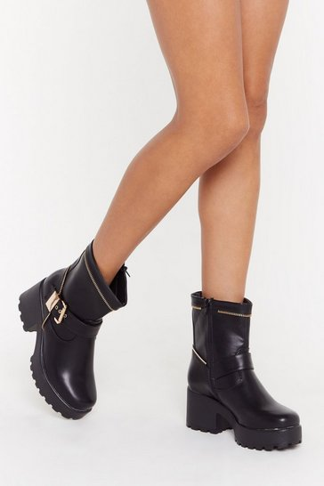 Womens Black Zip Town Faux Leather Biker Boots