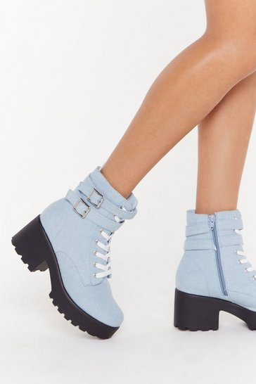 Womens Blue You Make Me Heel Chunky Biker Boots