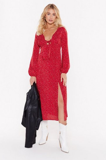 Womens Red Dot That into You Tie Midi Dress
