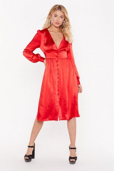 Red Just a Touch of Your Love Satin Midi Dress