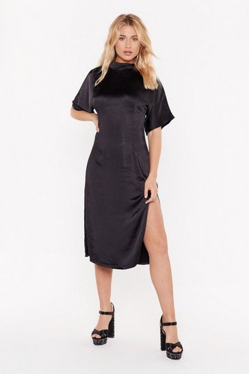 Womens Black Feeling Fine Satin Midi Dress