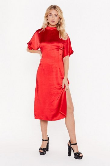 Womens Red Feeling Fine Satin Midi Dress