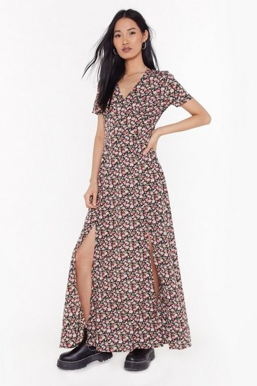 Womens Black Stop and Smell the Roses Floral Maxi Dress