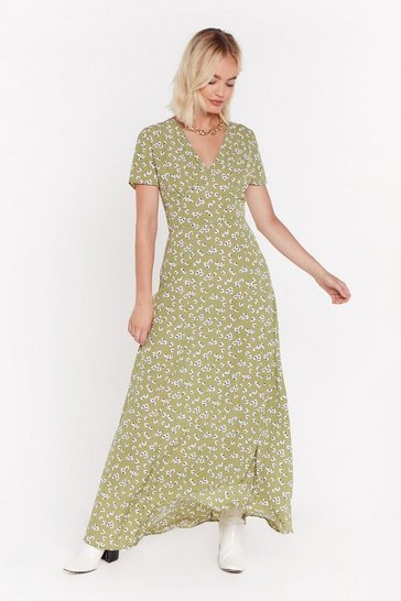 Womens Soft green Plant Stop This Feeling Floral Maxi Dress