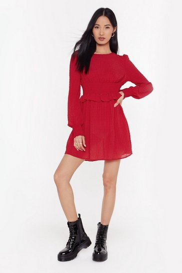 Red Make You Shirr My Love Mini Dress