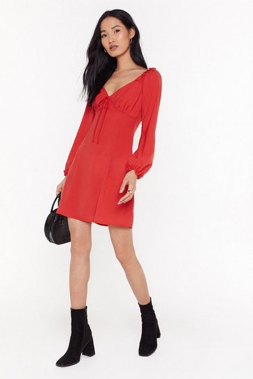 Womens Red Straight From the Shoulder Fit & Flare Dress