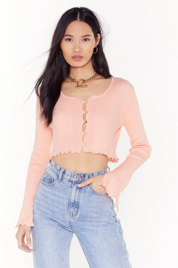Womens Baby pink Don't Crop Believing Ribbed Button-Down Cardigan