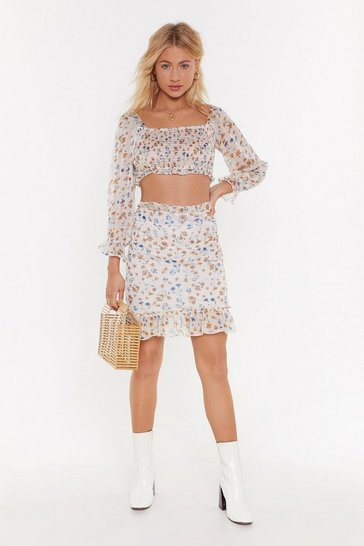 Womens White Show Must Grow On Floral Mini Skirt