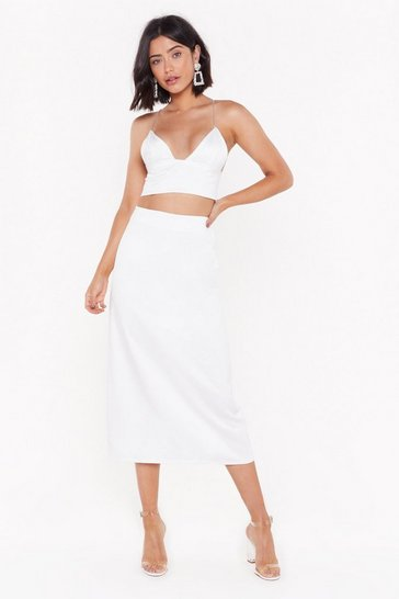Womens White You Gotta Make It Satin Midi Skirt
