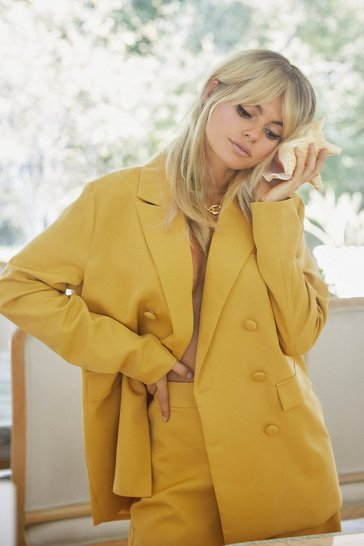 Mustard Suits You Double Breasted Relaxed Blazer