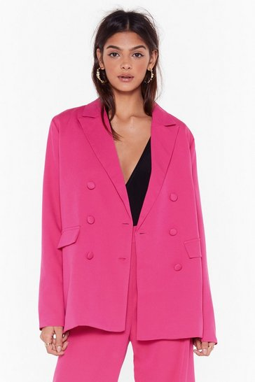 Womens Pink Suits You Double Breasted Relaxed Blazer