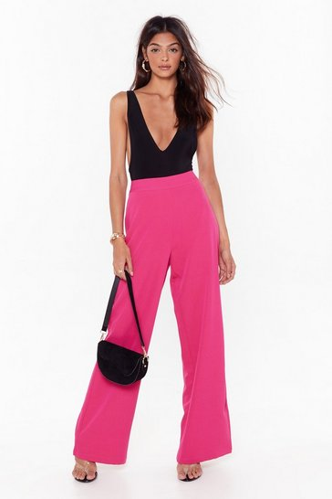 Pink Wide Leg Suit Pants