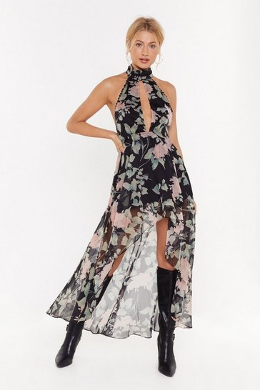 Womens Black Got Your Work Cut-Out Floral Maxi Dress