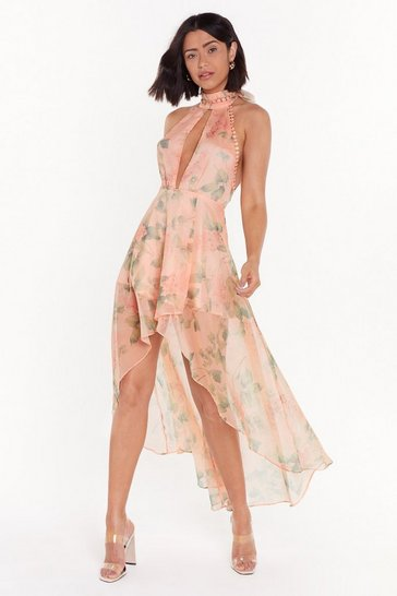 Womens Pink Got Your Work Cut-Out Floral Maxi Dress