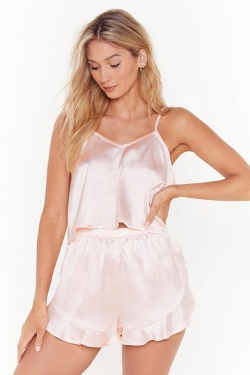 Champagne Energy Saving Mode Satin Pajama Short Set