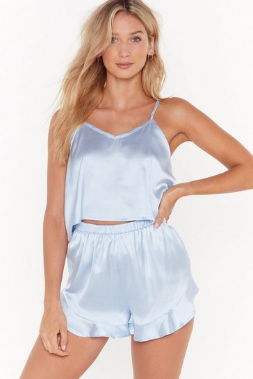 Blue Energy Saving Mode Satin Pajama Short Set