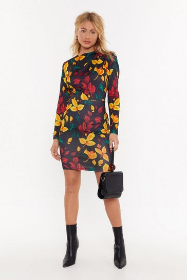 Womens Black You Better Be-Leaf Me Floral Midi Dress
