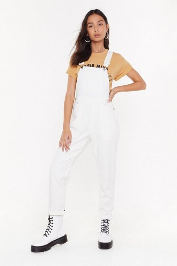 Womens White Setting the Record Straight Denim Overalls