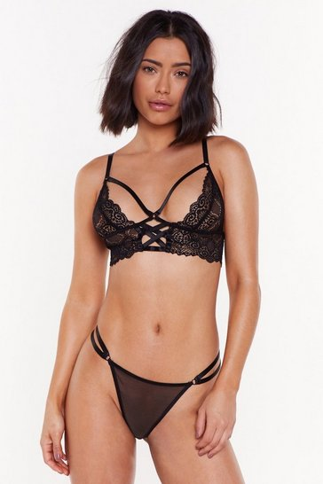 Womens Black Invade My Personal Lace Strappy Bralette and High-Leg Thong