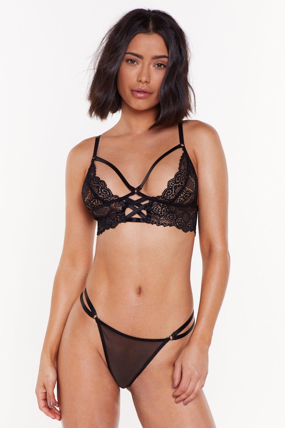 Invade My Personal Lace Strappy Bralette And High Leg Thong by Nasty Gal