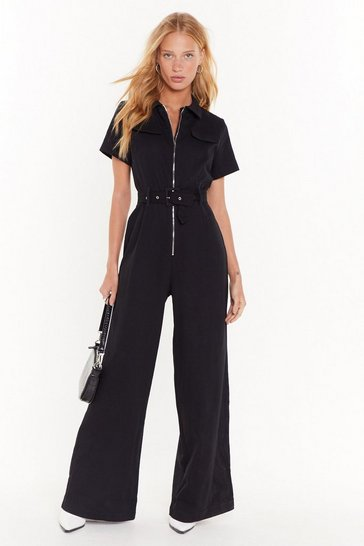 Womens Black Situation's Under Control Wide-Leg Boilersuit