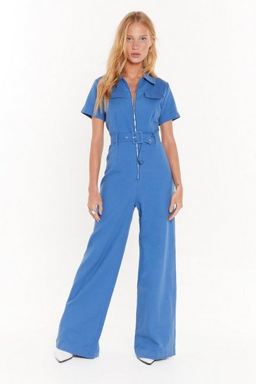 Womens Blue Situation's Under Control Wide-Leg Boilersuit