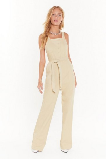 Womens Sand Make 'Em Work for It Button-Down Overalls
