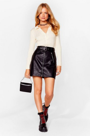 Black All I Faux Leather Wanted Mini Skirt