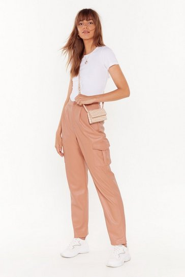 Pink Put on Your Faux Leather Cargo Pants