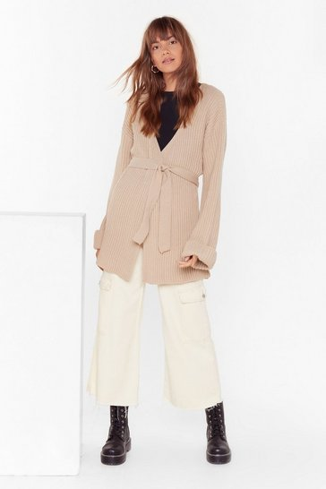 Oatmeal Turn Back the Days Knitted Belted Cardigan
