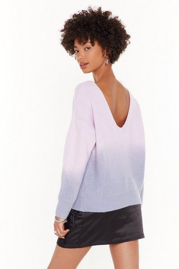 Womens Lilac Knit Takes Two Tye Dye Sweater