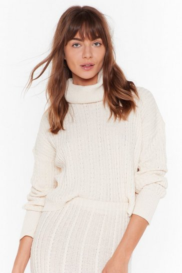 Womens Ecru We Love Knit When Turtleneck Cropped Sweater