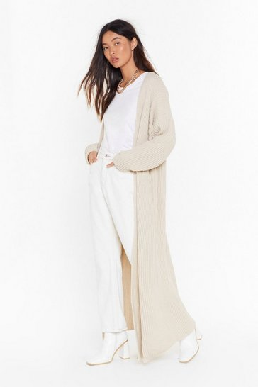 Womens Stone Push Knit to the Max Longline Cardigan