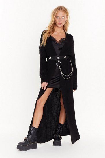 Womens Black Push Knit to the Max Longline Cardigan