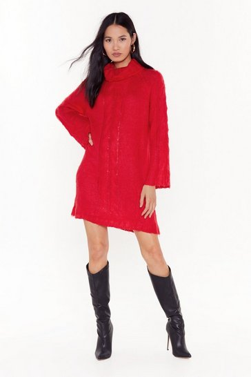 Womens Red Brushed Fluffy Roll Neck Cable Jumper Dress