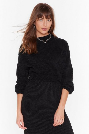 Chunky Black Sweater with Crew Neckline