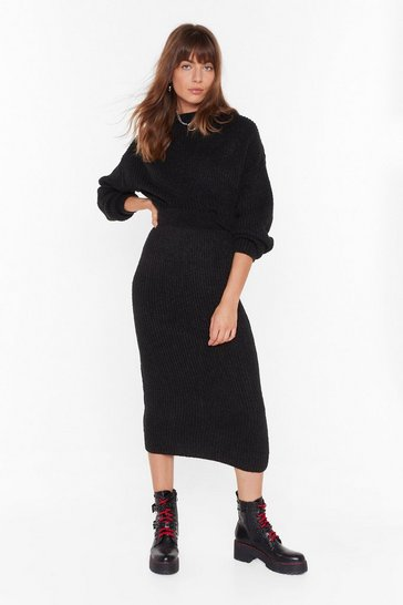 Womens Black Ain't No Doubt About Knit High-Waisted Midi Skirt