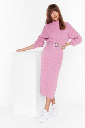 Rose Ain't No Doubt About Knit High-Waisted Midi Skirt