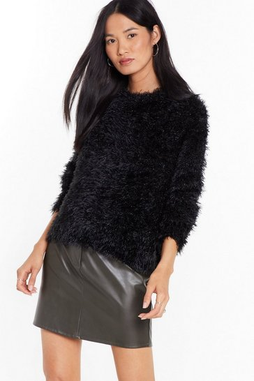 Womens Black Knit Decision Fluffy Crew Neck Sweater