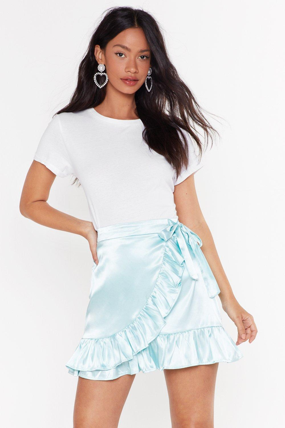 Anything Can Satin Wrap Skirt by Nasty Gal