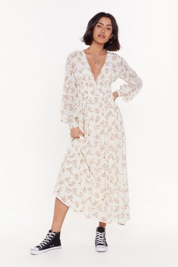 Womens White Summer of Love Floral Maxi Dress