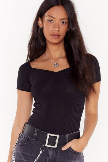 Womens Black Sweet Nothings Ruched Ribbed Top