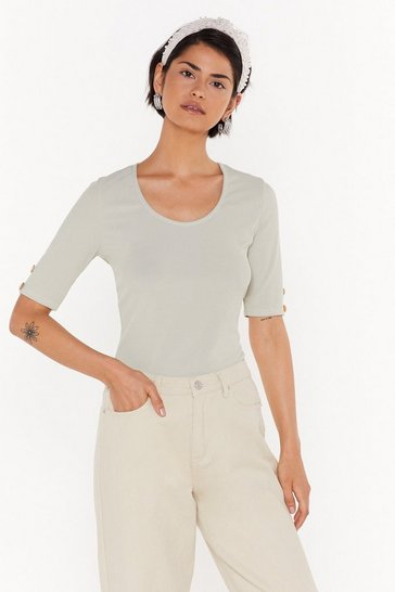 Womens Sage All Eyes Button Me Ribbed Tee