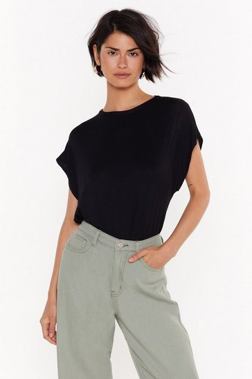 Womens Black Laid Back Oversized Tank Tee