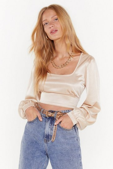 Womens Champagne Keeping Our Options Open Satin Crop Top